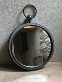 Metalen landelijke ronde spiegel spiegeltje rond 36 cm grijs grijze spiegeltje pure zinc zink landelijk old look landelijk industrieel