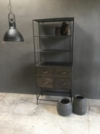 Industriële mat zwart grijze kast 180 x 78 x 43 cm landelijk stoer antraciet lades ladekast schap rek metaal grijs