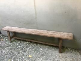 Oude teakhouten bank eettafelbank houten bankje tuinbank landelijk vergrijsd naturel hout oud stoer hout 150 cm teakhout