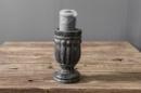 Grijs houten kandelaar Nepal pot kruik black finish kruikje potje landelijk stompkaarskandelaar grey