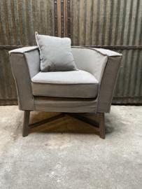 Prachtige stoffen linnen fauteuil fauteuils landelijk sober taupe