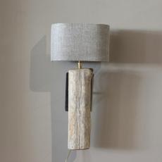Stoere landelijke wandlamp naturel stronk landelijk hout ruw robuust inclusief lampenkap