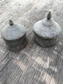 Oude houten Tika doosjes vintage grey grijs brocant landelijk doosje bakje box oosters