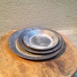 Zinken bakje zeepbakje Schaaltje rond bordjes onderzetters zink grijs schaal landelijk schaal bordje 15 cm