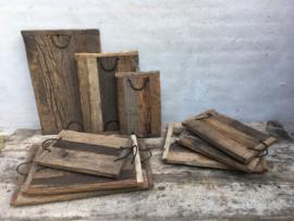 Oud houten dienblad S tray railway wagondelen hout met hengsels landelijk