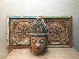 MEGA groot houten buddha beeld boeddha hoofd boedha landelijk stoer vergrijsd doorleefd