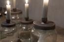 Glazen weckpot met deksel kaarsenhouder landelijk industrieel grijs grey L Large