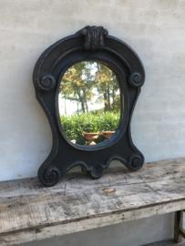 Prachtige grote Houten spiegel osseoogspiegel osseoog ossenoog oeil de boeuf landelijk zwart black hout