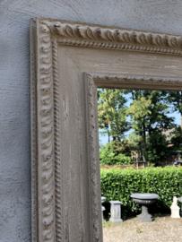 Prachtige grote spiegel 100 x 100 cm landelijk sober stoer brocant beige zand naturel sleets doorgescheurd