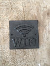 Gietijzeren WiFi bord bordje tekstbord industrieel bruin metaal metalen