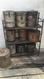 Oud metalen keukenrek rek kast schap keukenkast 92 x 77 x 30 cm industrieel stoer metaal vintage bakkersrek kruikenrek
