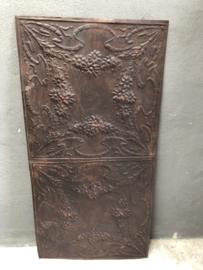 Oude Metalen plafondplaat Wandplaat platen 125 x 62,5 cm wandpaneel wanddecoratie stoer roestbruin landelijk industrieel urban vintage
