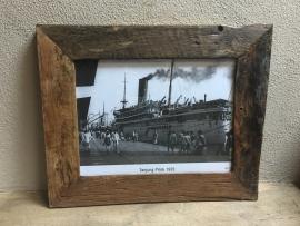 Stoere grof ruwe houten fotolijst lijstje landelijk robuust 55 x 45 cm hout vintage industrieel stoer foto 40/30 cm