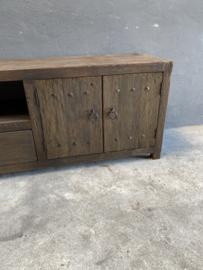 Oud railway houten dressoir tv meubel kast televisie televisiekast televisiemeubel vol massief hout landelijk industrieel robuust oud hout vintage sidetable 200 x 40 x H60 cm
