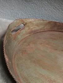Stoer metalen dienblad bruin grijs landelijk ovaal serveerblad Brocant industrieel metaal