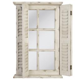 Stoere houten spiegel stalraam stalraamspiegel 71 x 46 cm met Louvre luiken luikjes hout glas landelijk old look oude look doorgeschuurd oud hout venster kozijn