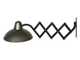 Vintage industriële lamp wandlamp bedlamp trekarm treklamp scharnier scharnierlamp harmonica scharnier bedlampje harmonica arm wandlampje industrieel landelijk grijs bruin tafellamp Burolamp bureaulamp landelijk industrieel hout metaal zink zinken