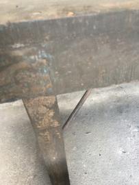 Oude vergrijsd donker houten klaptafel markttafel stoer antraciet bruin grijs 170 x 60 cm x H 76 cm landelijk industrieel