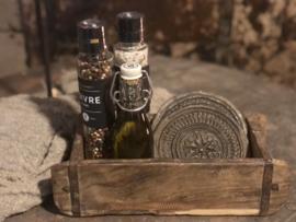 Kruidensetje in houten mal incl twee stenen chapati onderzetters-