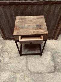 Industriele landelijke nachtkastjes nachtkastje kastje tafeltje hout metaal