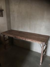 Stoere oude houten sidetable buro bureau klaptafel doorleefd industrieel markttafel landelijk hout metaal