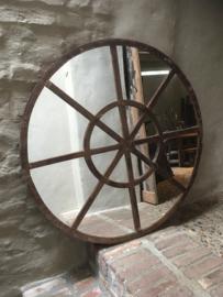 Groot rond metalen stalraamspiegel ronde stalraam kozijn venster tuinspiegel 100 cm spiegel rond kozijn venster landelijk industrieel vintage