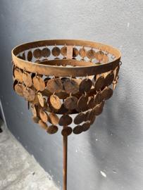 Stoere roestige staande lamp Schijfjeslamp