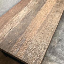 Stoere landelijke industriële tafel eettafel 240 x 95 cm grof vergrijsd houten blad metalen onderstel poten industrieel bassano stoer
