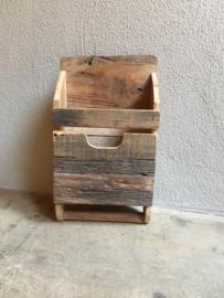 Oud houten wandrek wandrekje bak trog mangelbak handdoekenrek landelijk railway truckwood hout stang roede opbergvak