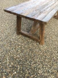 Robuuste hardhouten boerentafel 300 x 100 cm kloostertafel tafel eettafel landelijk industrieel stoer vintage retro urban leestafel