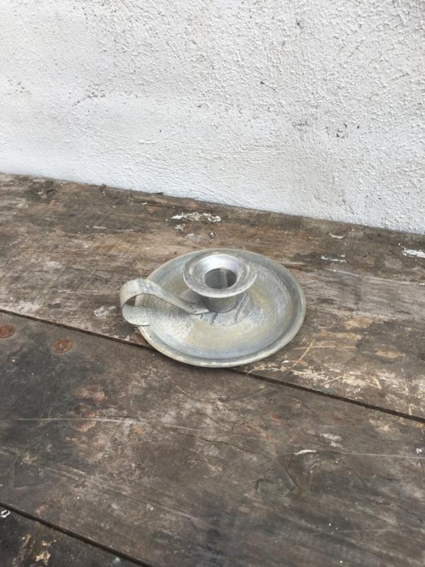 Zinken metalen blaker blakertje kandelaar dinerkaars zink grijs metaal landelijk industrieel brocant