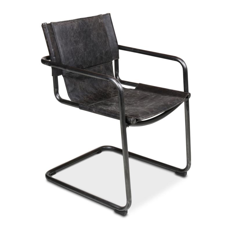 Stoere metalen leren eetkamerstoel stoel stoelen eetkamerstoelen industrieel stoer landelijk donker grijs antraciet  leer metaal