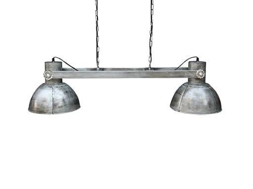 Industriele landelijke hanglamp plafond lamp metaal 2 kappen 110 cm zink grijs industrieel landelijk stoer vintage
