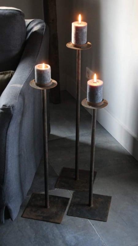 Set van 3 smeedijzeren kandelaars vloerlandelaar vloerkandelaars 60-70-80 cm stompkaars Of groot theelicht landelijk stoer metaal landelijk industrieel