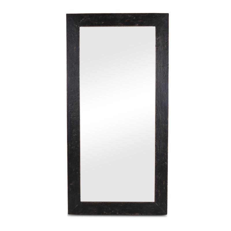 Grote zwart houten spiegel passpiegel 160 x 80 cm stoer strak hout