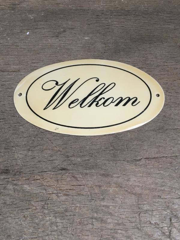 Gietijzeren plaatje emaille deur welkom bordje deurbordje naambordje landelijk nostalgisch industrieel grootmoederstijd brocant
