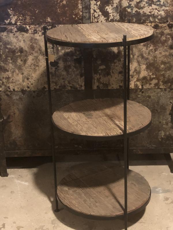 Stoer Bijzettafeltje tafeltje rond metalen onderstel met truckwood blad etagère landelijk industrieel