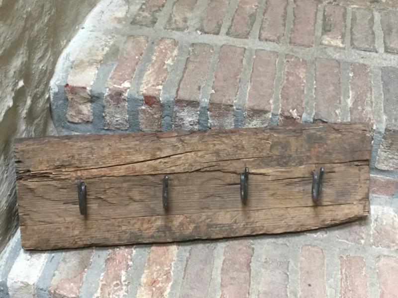 Railway houten kapstok oud hout 60-65 cm stoer landelijk wandhaken industrieel
