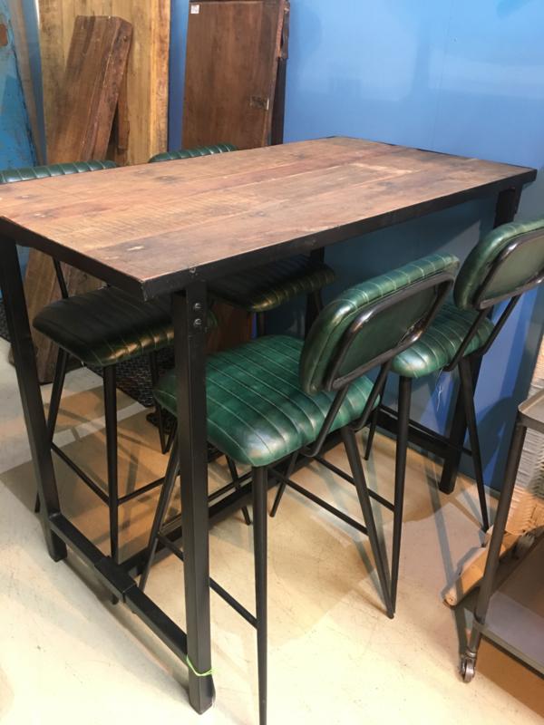 Oude houten klaptafel bartafel met zwart metalen onderstaat vintage industrieel loungetafel staantafel bar sta-tafel landelijk hoge hoog model industrieel werktafel metaal hout metalen houten