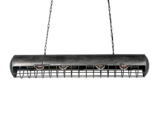 Stoere metalen hanglamp lamp plafondlamp 115 cm lichtbak tlbak - model landelijk vintage retro korflamp  industrieel zwart grijs