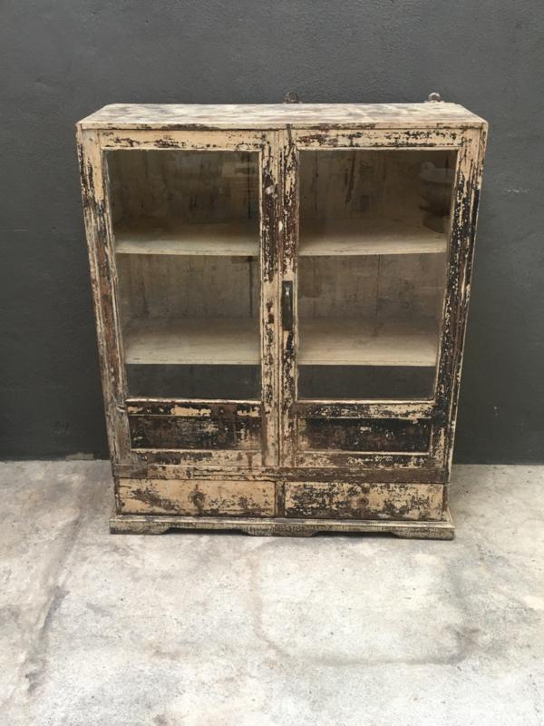 Stoer oud houten kast kastje Vitrinekastje 89 x 38 x H108 cm keukenkast keukenkastje wit servieskast doorgeschuurd sleets landelijk stoer vintage industrieel
