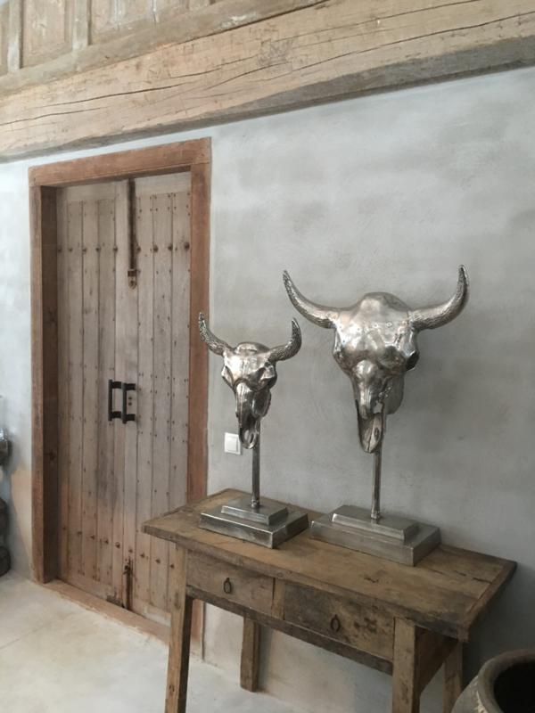 Goede Gaaf chroom nickel metalen bull groot op statief stier schedel MU-31