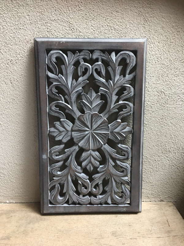 Stoer landelijk oud houten wandpaneel 50 x 30 cm grijs grijze taupe wandornament wanddecoratie hout panelen luiken