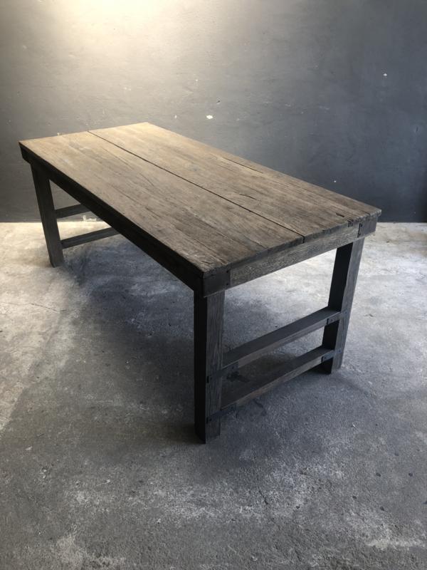 Oude vergrijsd houten landelijke industriël eettafel naturel 160 x 80 cm hout houten Sidetable bureau buro tuintafel klaptafel werkbank werktafel oud vintage stoer