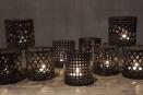 Set van 5 metalen theelichtjes korfjes landelijk industrieel urban vintage bruin metaal