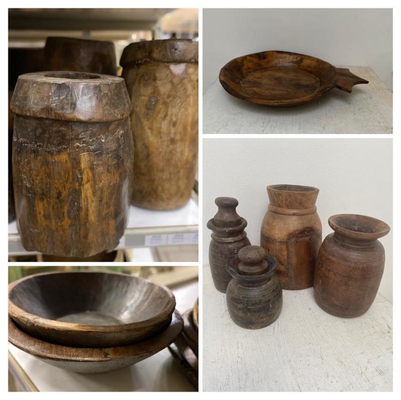 Oude houten pot met deksel dop Nepal kruik landelijk vintage stoer