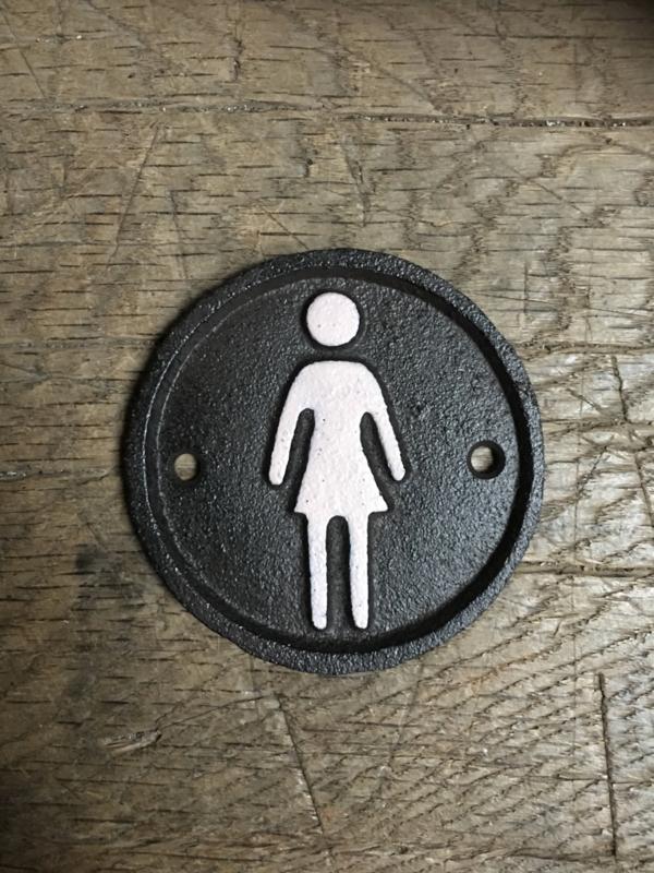 Gietijzeren bordje toilet dames meisjes wc vrouwentoilet zwart wit