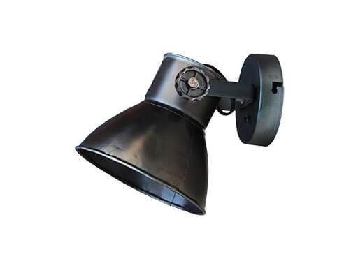 Industriële oud gerecycled metalen spotje hanglamp wandlamp 1 zwarte zwart kap spot spots plafondlamp plafoniere metaal verstelbaar landelijk stoer vintage