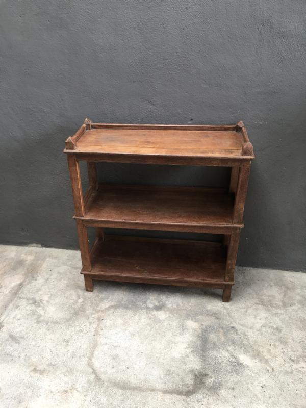 Oud houten schap rek keukenrek kast 79 x 32 x H87 cm planken landelijk bakkersrek broodrek  boerenkeuken winkelkast keukenkast