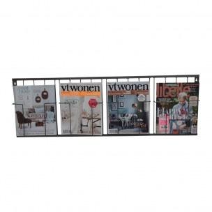 Metalen wandrek tijdschriftenrek lectuurrek tijdschriften magazine magazines lectuurbak bordenrek  lijstjes foto's schap draadijzer mand wandrek